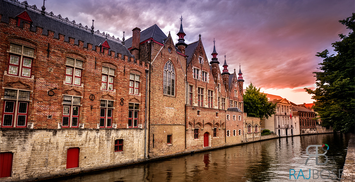 Beautiful sunset in Bruges, Belgium