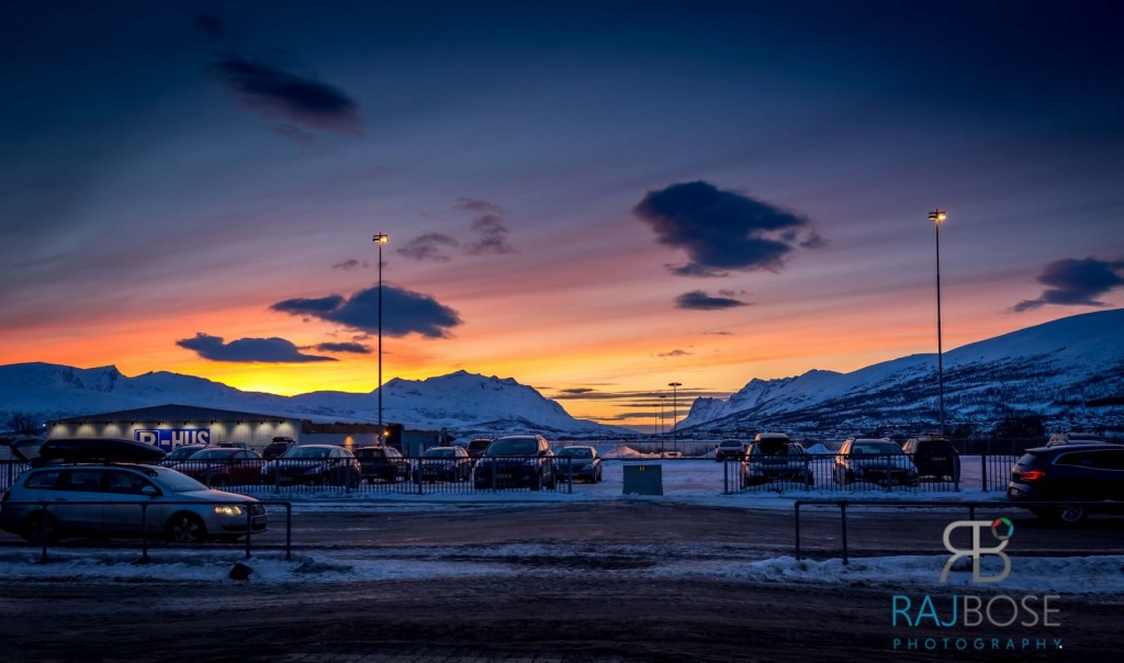 Sunset in Tromso, view just outside Tromso Airport